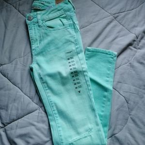 Mint green distressed jeans | AE